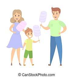 Family with cotton candy - Happy mother, father and smiling...