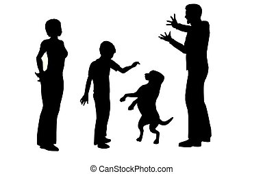 family with dog vector