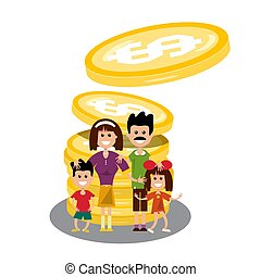 Family with Dollar Coins. Happy People with Money Isolated on White Background. Vector.