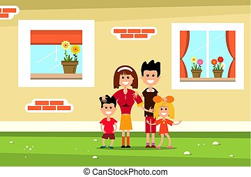 Family with Family House Wall and Windows. Vector Flat Design Illustration.