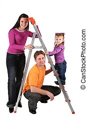 family with foldable ladder isolated on white