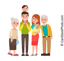 Family with Good Emotions Vector Illustration
