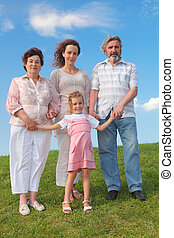 family with grandmother, grandfather, mother and little girl standing on green lawn, blue sky