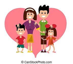 Family with Heart Symbol Isolated on White Background