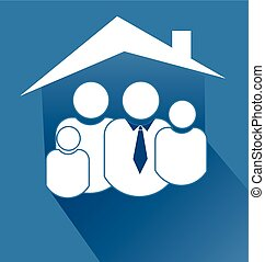 Family with house flat blue icon