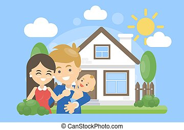 Family with house.