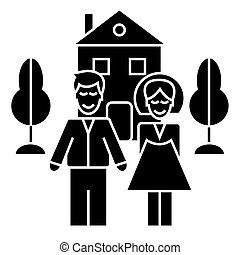 family with house  icon, vector illustration, sign on isolated background