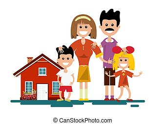 Family with House. Vector Isolated Illustration.
