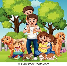 Family with kids and pets in the park