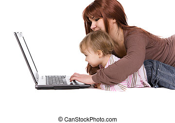 family with laptop