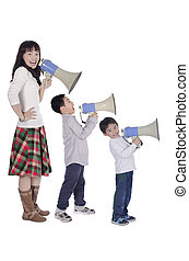 Family with megaphone
