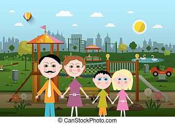 Family with Playground on Background