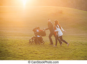 Family with pram in nature - Happy and young family with...
