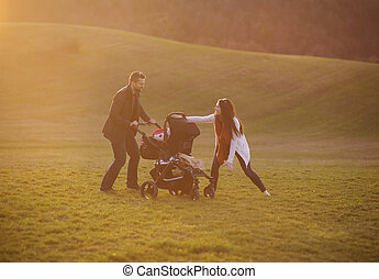 Family with pram in nature