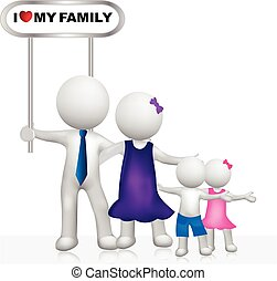 Family with sign 3D white people logo - 3D Happy family...