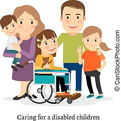 Family with special needs children, family with handicapped...