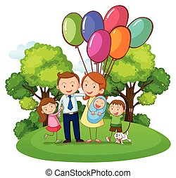 Family with three kids in the park