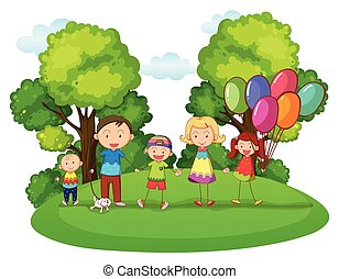 Family with three kids playing in park