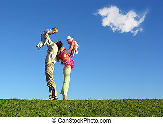 family with two children and cloud