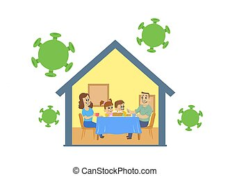 Family with two kids sitting at the table at home hiding from virus. Stay home during the coronavirus. Coronavirus outbreak, quarantine concept. Flat vector illustration, isolated.