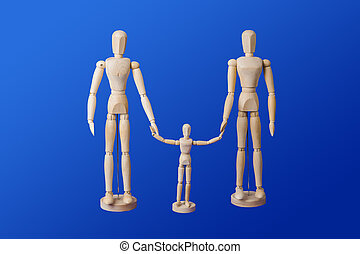 Family - wooden toy figures on blue