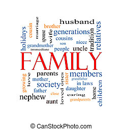 Family Word Cloud Concept with great terms such as loving,...
