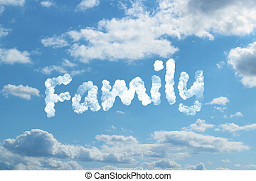 Family word on cloud