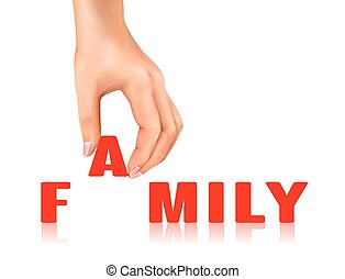 family word taken away by hand over white background