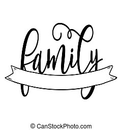 Family word with free space for last name or surename. Split...