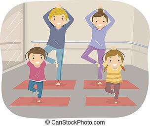 Family Yoga - Illustration of a Family Practicing Yoga Moves...