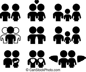 Family/relations silhouette set