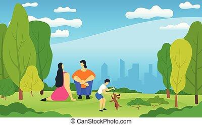 familyrelaxing in city park
