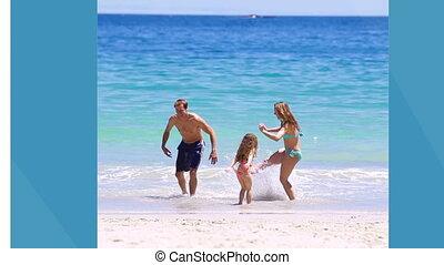 Familys on holidays montage