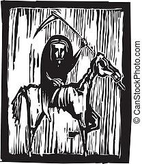 Famine Apocalypse - Grim reaper horseman or famine riding a...