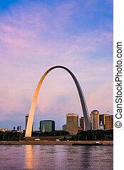 famoso, arquitectónico, señal, el, arco, en, s., louis.