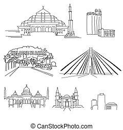 famoso, arquitectura, batam, contornos
