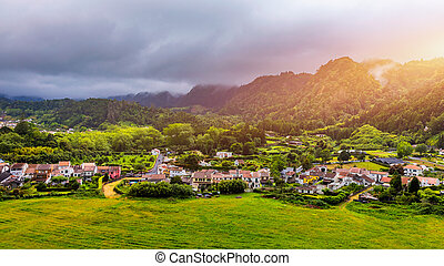 famoso, azzorre, isola, miguel, villaggio, portugal., isola...
