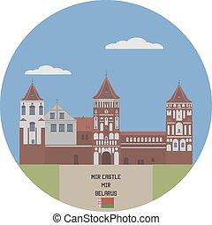 famoso, belarus, lugar, mir, castle.