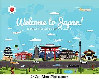 famoso, bienvenida, atracciones, japón, cartel