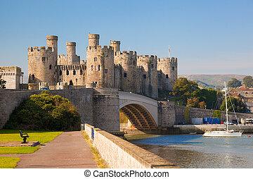 famoso, castillo de conwy, en, gales