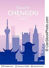 famoso, china, chengdu, scape., ciudad