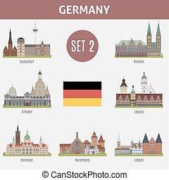 famoso, ciudades, alemania, lugares