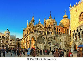 famoso, cuadrado, san marco, en, venecia italia
