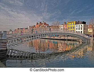 famoso, dublín, señal, ha, penique, puente, irlanda