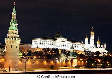 famoso, e, bello, notte, vista, di, moskva, fiume, e, mosca, kreml