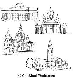 famoso, edificios, finlandia, helsinki
