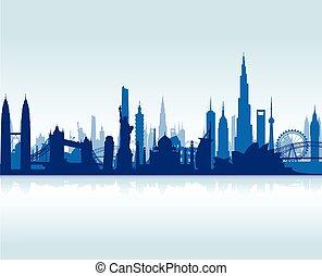 famoso, limiti, cityscape, backgrou