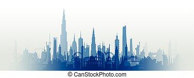 famoso, limiti, cityscape