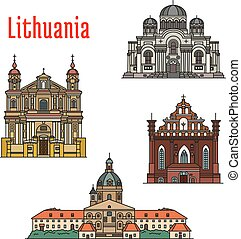famoso, lituania, arquitectura, iconos