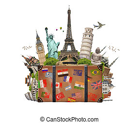 famoso, lleno, maleta, ilustración, monumento